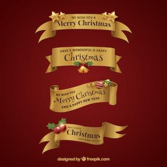 Elegant merry christmas ribbons