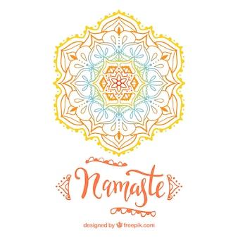 手描きの色の曼荼羅とエレガントなナマステの背景