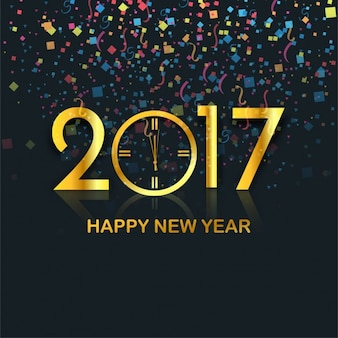 Elegant new year background with colorful confetti and golden 2017