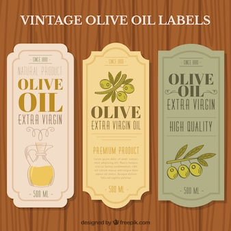 Elegant olive oil stickers