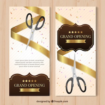 Elegant opening banners with vintage style