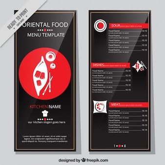 Elegant oriental menu with a red circle