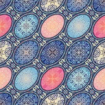 エスニックフラワーシームレスパターン抽象的な装飾模様
