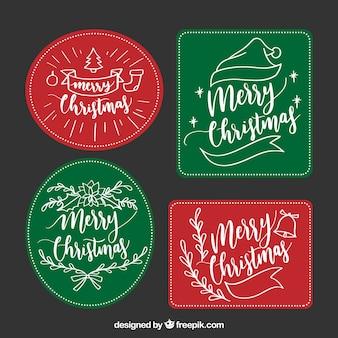 Elegant pack of hand drawn christmas labels