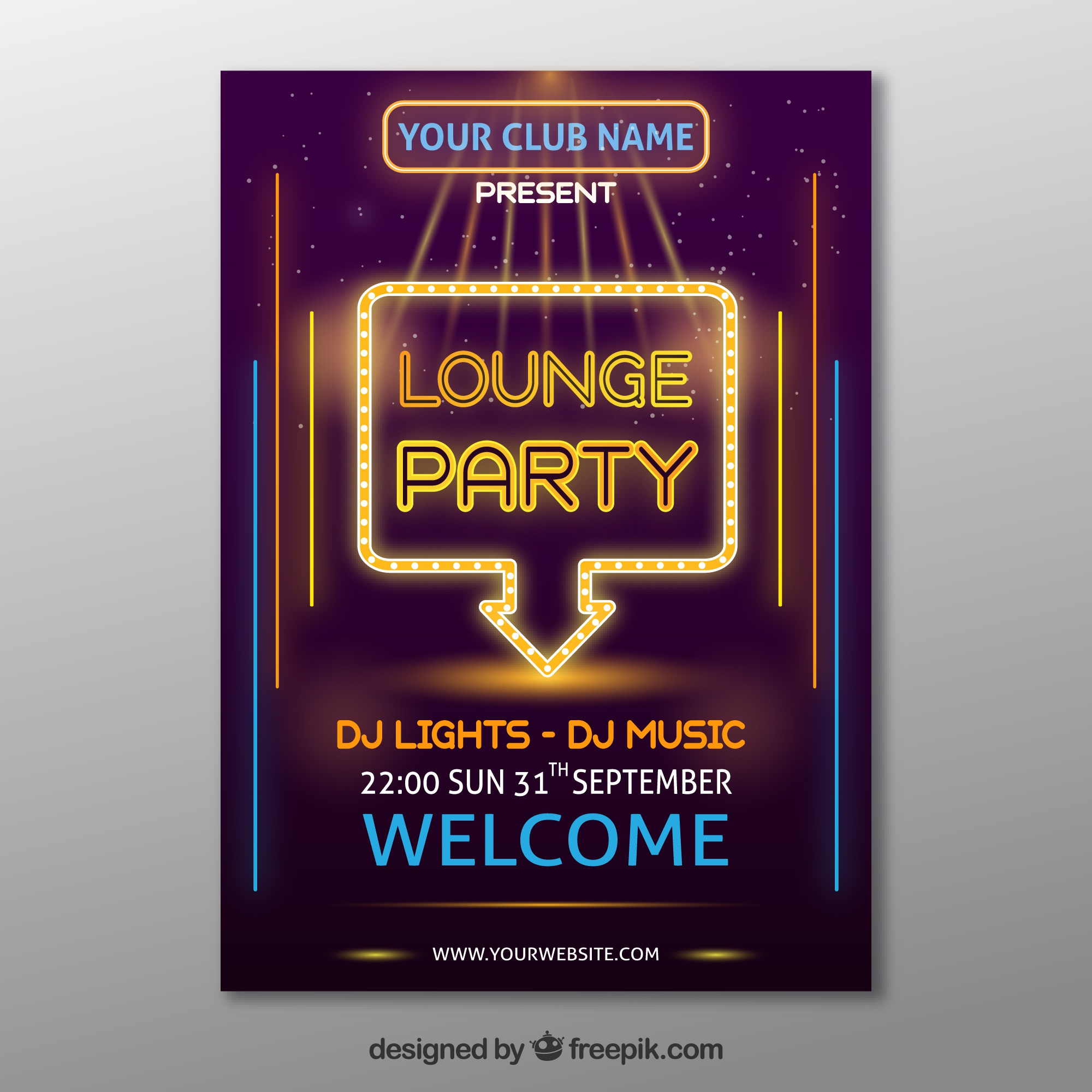 Elegant party poster with neon lights