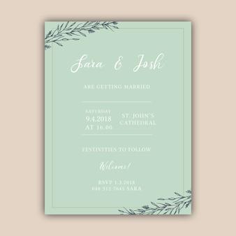 Elegant pastel green hand drawn wedding invitation