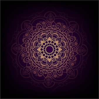Elegant purple and golden mandala design