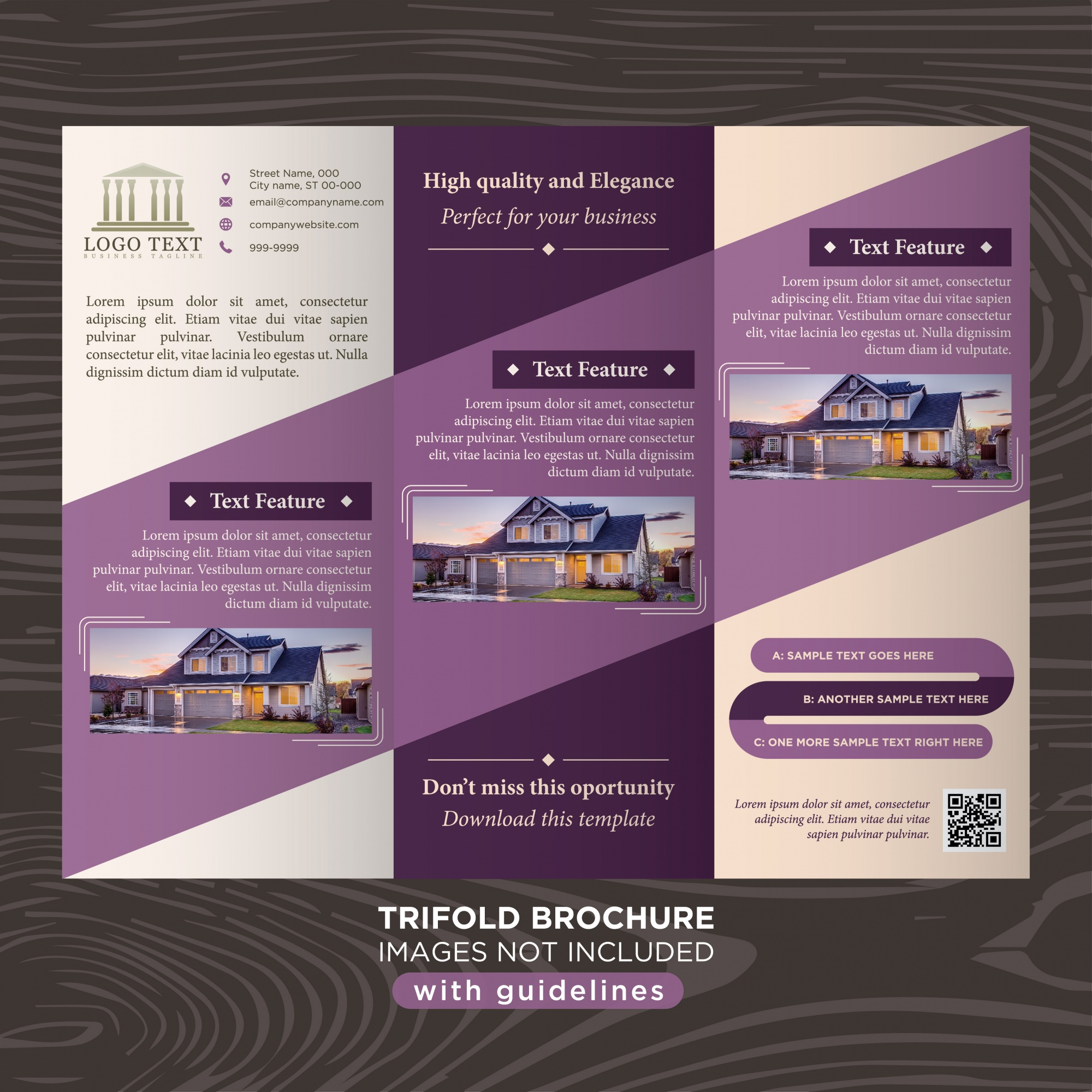 Elegant purple business design trifold brochure template