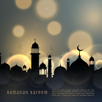 Elegant ramadan kareem design with city