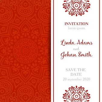 Elegant red mandala wedding invitation
