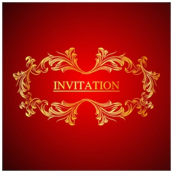 Elegant red wedding invitation template