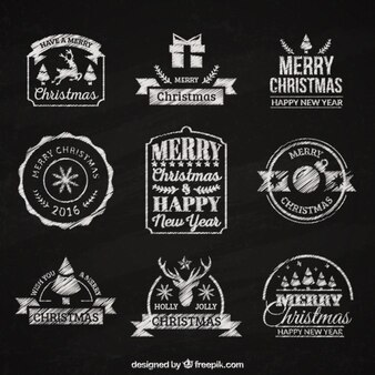 Elegant retro christmas and new year stickers