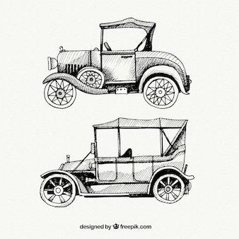 Elegant retro hand-drawn vehicles