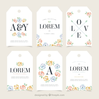 Elegant retro labels with flowers