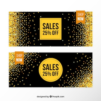 Elegant sales banners with golden glitter