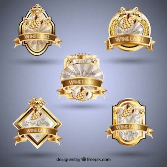 Elegant selection of gold wine stickers