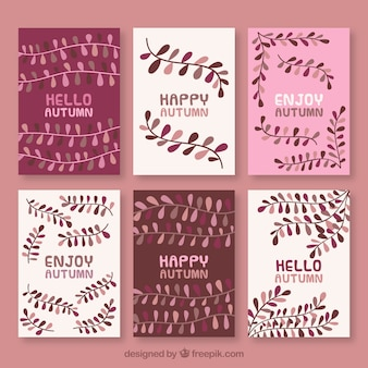 Elegant set of autumn cards with leaves
