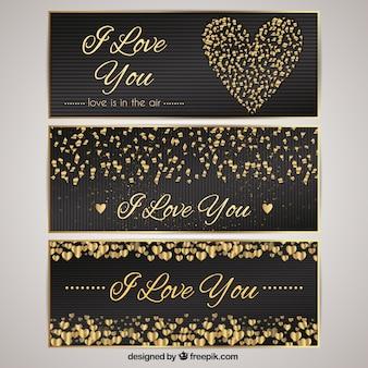Elegant valentines day banners