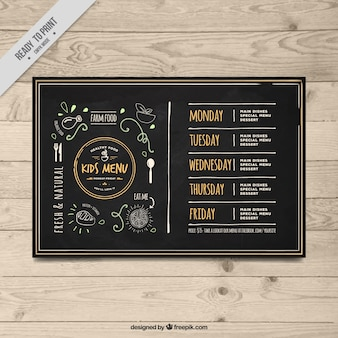 Elegant vintage children's menu template