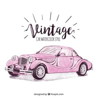 Elegant vintage hand drawn car in pink color