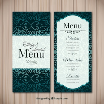 Elegant vintage menu for wedding