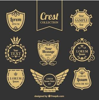 Elegant vintage shields set