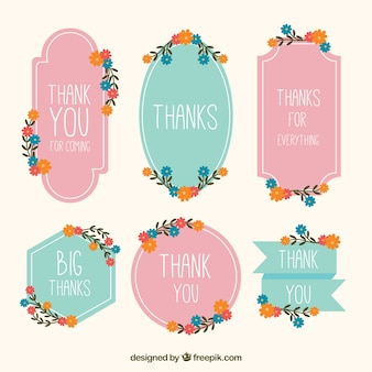Elegant vintage thank you stickers with flowers