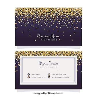 Elegant visiting card with golden confetti