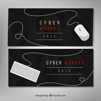 Elegant watercolor cyber monday banners
