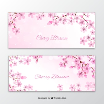 Elegant watercolor flower banners