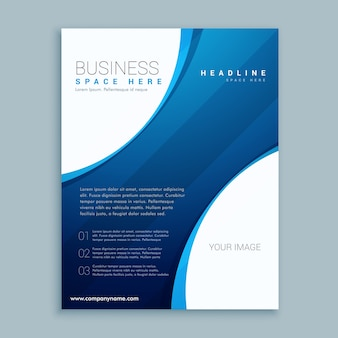 Elegant wavy blue and white business brochure template
