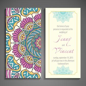 Elegant wedding invitation decorated with a cute mandala