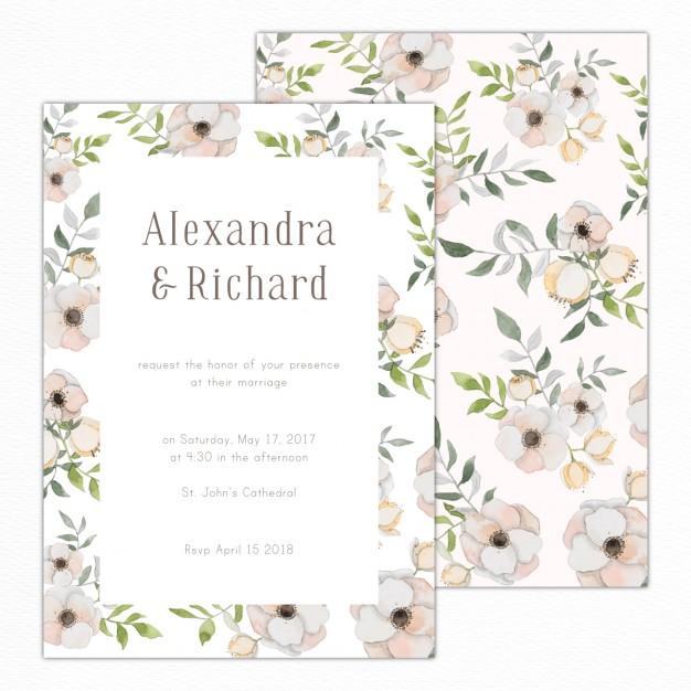 Elegant wedding invitation with a floral pattern