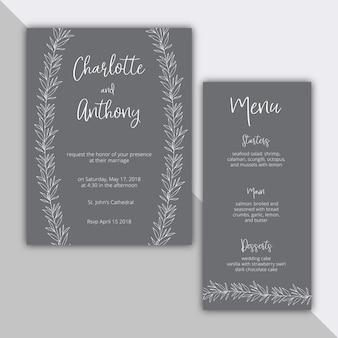 エレガントな結婚式招待状と植物のイラスト