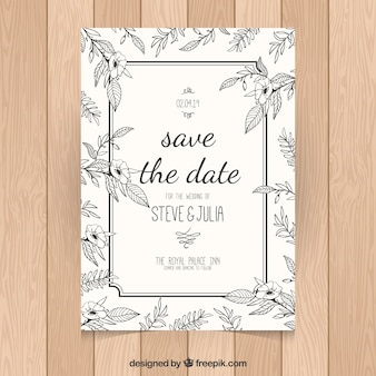 Elegant wedding invitation with flowers and frame