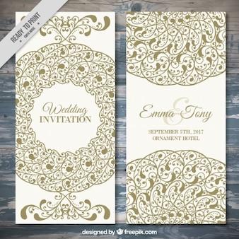 黄金の装飾品でエレガントな結婚式の招待状