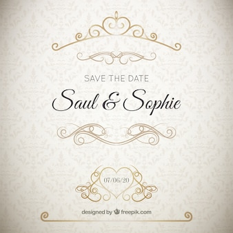 Elegant wedding invitation with golden ornaments