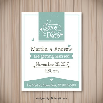 Elegant wedding invitation with hearts