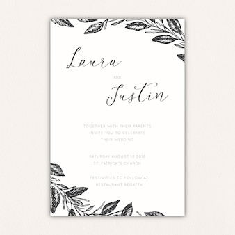 Elegant wedding invitation with leaves and branches