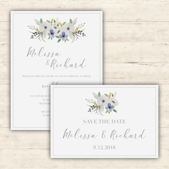 Elegant wedding invitations set