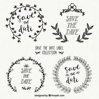 Elegant wedding labels with hand drawn style
