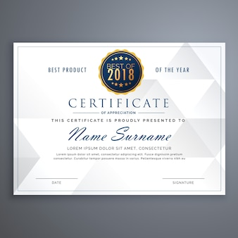 Elegant white certificate