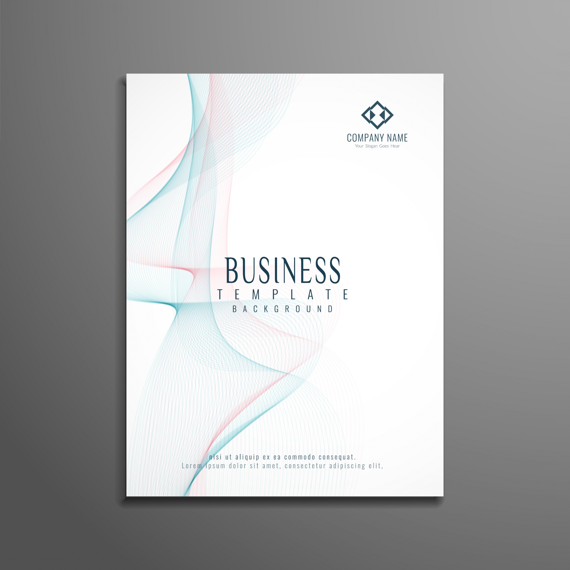 Elegant white wavy business brochure template