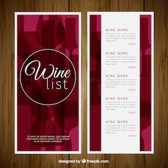 Elegant wine list