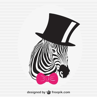 Elegant zebra with black hat and pink bow tie