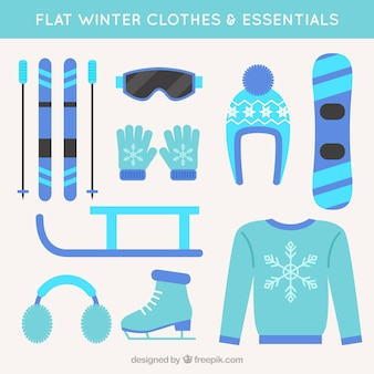 Elements and winter clothes in flat design
