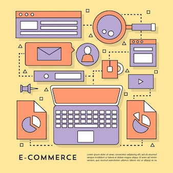 Elements for e commerce on a yellow background