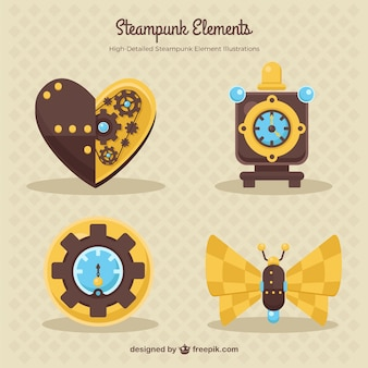 Elements in steampunk style