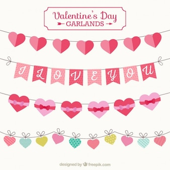 Elements valentine day garlands