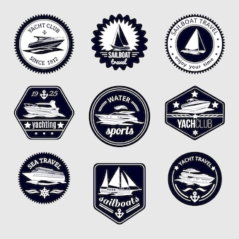 Elite world water sport yacht club sailboat sea travel design labels set black icons isolated vector illustration